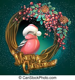 Merry Christmas wreath of vines ash berry and bullfinch