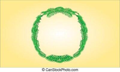 Merry Christmas wreath video - Animation of illustration...