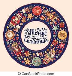 Merry Christmas wreath with Christmas toys.