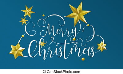 Merry Christmas writing animation and gold stars