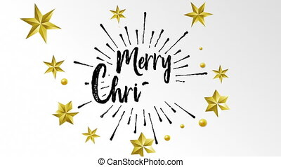 Merry Christmas writing hand made text and gold stars