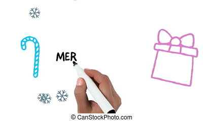 Merry Christmas written on white background - Animation of ...