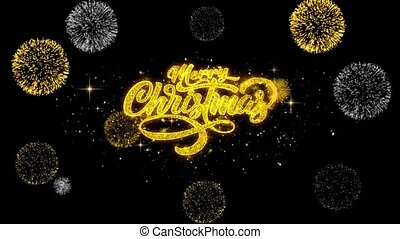 Merry Christmas Xmas golden Text blinking particles with golden fireworks Display background.