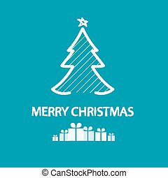 Merry Christmas. Xmas Vector Card. White Tree and Gift Boxes on Blue Background.
