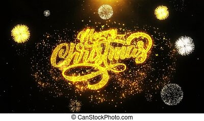 Merry Christmas Xmas Wishes Greetings card, Invitation, Celebration Firework Looped.