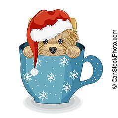 merry Christmas Yorkshire terrier dog in cup