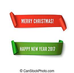 merry christmas, zabalit do papíru rohlík, standarta, s, realistický, shadow., happy new year, 2017, dát, o, ryšavý i kdy lakovat koho, vektor, lepenka, svitek, osamocený, oproti neposkvrněný, grafické pozadí, jako, plakát, nebo, pozdrav, card.