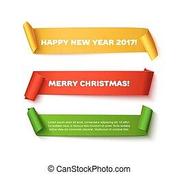 merry christmas, zabalit do papíru rohlík, standarta, s, realistický, shadow., happy new year, 2017, dát, o, červeň, nezkušený, a, zlatý, vektor, lepenka, svitek, osamocený, oproti neposkvrněný, grafické pozadí, jako, plakát, nebo, pozdrav, card.