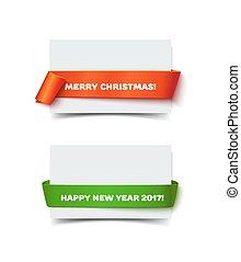 merry christmas, zabalit do papíru rohlík, standarta, s, realistický, shadow.