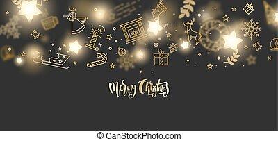 merry christmas, zlatý, třpytit se, nápis, design.
