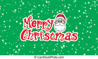 Merry Christmas12 Santa Head looking over Christmas Type on white background