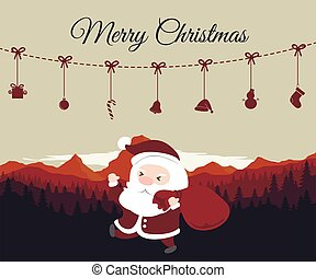 Merry Christmas.Santa Claus with mountain background.