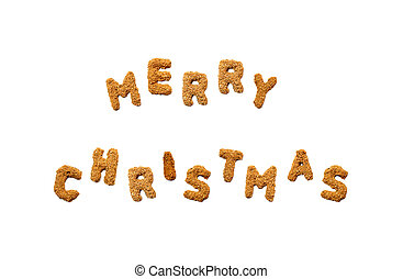 Merry Christmasword made of alphabet from sand