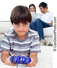 merry, dreng, boldspil spille video, ind, den, leve rum