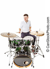 Merry drummer - Handsome guy behind the drum kit on a white...