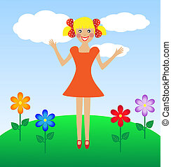 merry  girl in summer on lawn