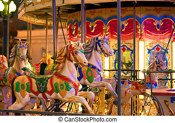Merry-go-round 3 - Old-fashioned roundabout with horses