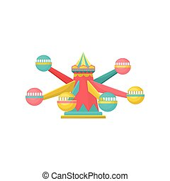 Merry go round carousel, amusement park element vector Illustration on a white background