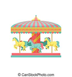 Merry go round carousel with horses, amusement park element vector Illustration on a white background