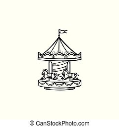Merry-go-round hand drawn sketch icon.