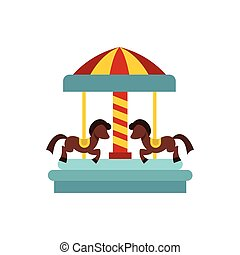 Merry go round horse ride icon, flat style