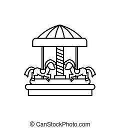 Merry go round horse ride icon, outline style