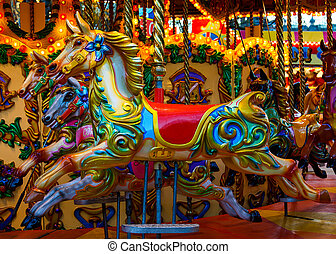 Merry-go-round horses - Vintage merry-go-round horses at a...