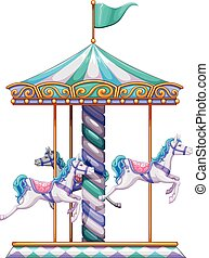 Merry go round - Illustration of a close up merry go round