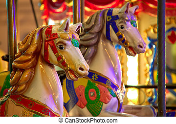 Merry-go-round - Old-fashioned roundabout with horses