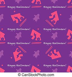 Merry Halloween seamless with traditional symbols icons. Vector.