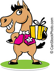 Merry horse with a gift logo - Fashion horse sign Isolated ...