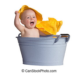 Merry little baby in a bath - Merry little baby laughing in ...