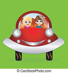 merry pair in a car