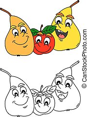 Merry pear and apple as coloring bo