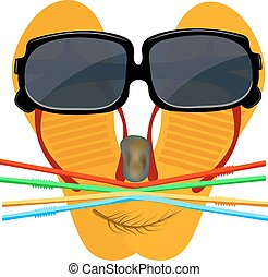 Merry playful face of a flip flops, glasses, stone, straw...