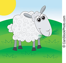 merry sheep on a green lawn