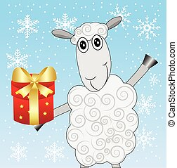 merry sheep with a gift