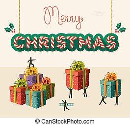 merry, teamwork, illustration, card, jul