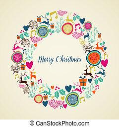 Merry Vintage christmas elements wreath