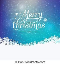 merry, vinter, farverig, snedækkede, baggrund, jul