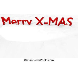 Merry X-Mas on snowy ground