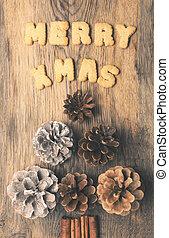 Merry X-Mas with pine cones