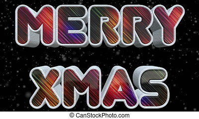 Merry XMAS 3D Shiny And Colorful Text