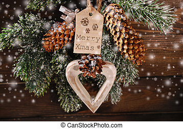 merry xmas greeting card - wooden heart and paper tag for...
