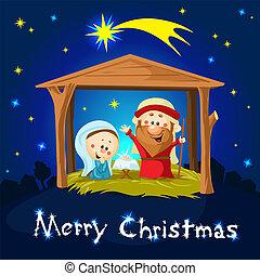 merry xmas Nativity in Bethlehem - Christmas vector illustration