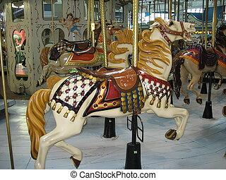 merrygoround horse - horse on merry-go-round at indoor...