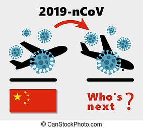 MERS-Cov middle East respiratory syndrome coronavirus , Novel coronavirus 2019-nCoV , icon of departure of coronavirus-charged plane from China and arriving in UK. pandemic concept of international contamination with biologically dangerous weapons