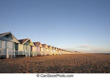 mersea, praia, essex, cabanas