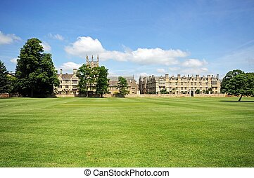 View of Merton College and Merton Chapel seen across Merton field, Oxford, Oxfordshire, England, UK, Western Europe.