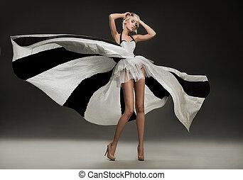 merveilleux, beau, blond, robe
